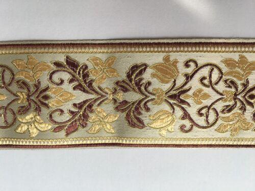 Jacquard Woven Ribbon//Trim  Polyester 4.5//6 cm width 1 yard