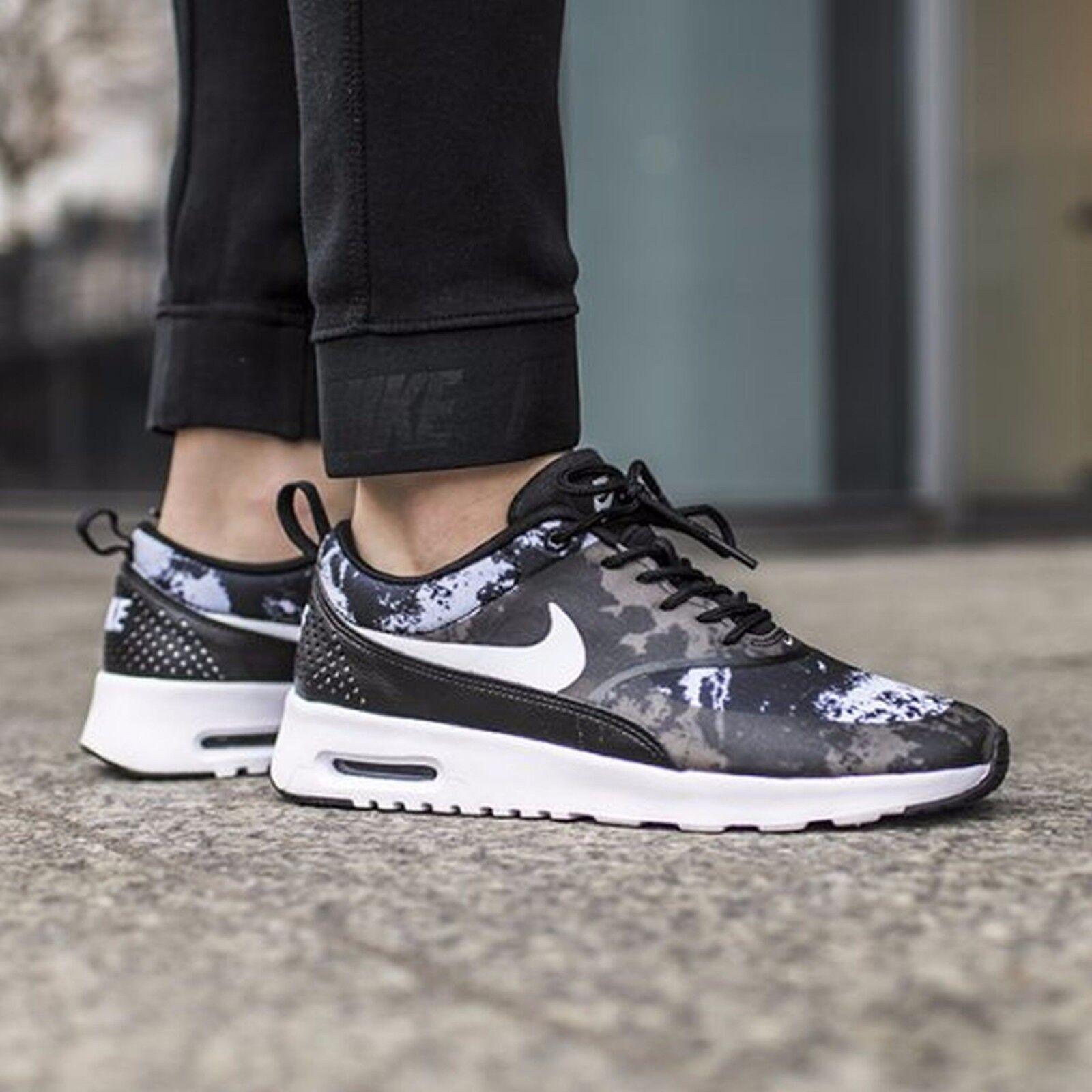 Nike Air Max Thea Print  Womens Size 7 599408-007 Black White-Dark Grey