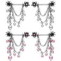 Pair Flower Nipple Bars 14g Jewelry Shield Pink White Bead Dangle Chain Gem