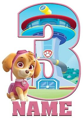 Paw Patrol Letters Chase T-Shirt Boys Girls Kids Age 3-15 Ideal Gift//Present