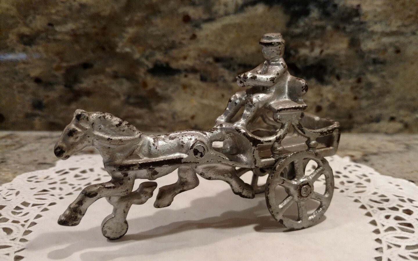 ANTIQUE 1910 DENT CAST IRON HORSE DRAWN  CART WITH RIDER