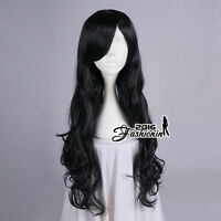 80CM Black Long Curly Hair Lolita Women Daily Party Anime Cosplay Wig + Cap