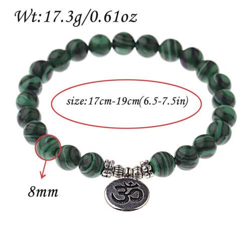 Fashion Men Women 8mm Natural Stone Malachite Strand Chakra Mala Bracelets Gift