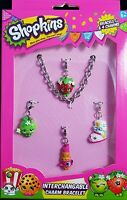 Shopkins Interchangeable Charm Bracelet With 4 Shopkins Charms