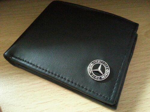 MERCEDES Benz Portafoglio Vera Pelle UK venditore nuove carte MONETA distintivo di metallo nero