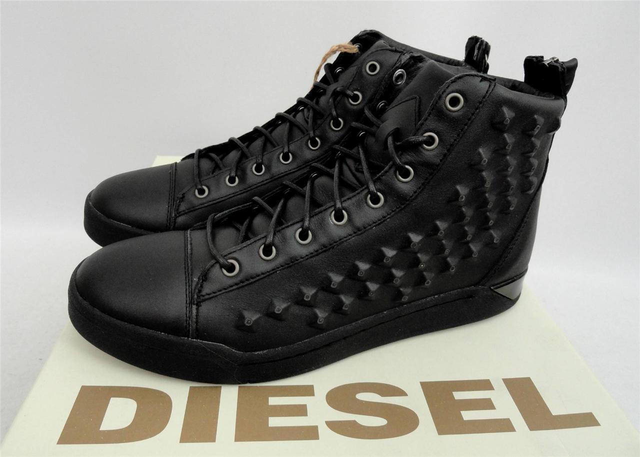 Men's Diesel Black Leather HI Top Trainers Shoes Boots UK8 EU42 US9 RRP250GBP