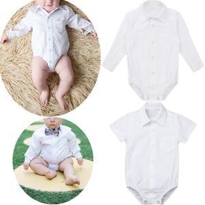 3bba64faf Baby Boys Formal Dress Shirts Gentleman Romper Bodysuit Wedding ...