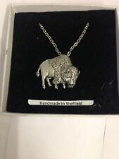 Buffalo PP-W11 Emblem Silver Platinum Plated Necklace 18""