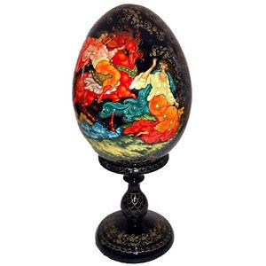 Grand-oeuf-en-bois-peint-Oeuf-Collection-Russe-Cadeau-original