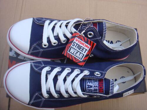 Unisexe bleu marine//blanc toile classique basse vision street wear baskets uk 4