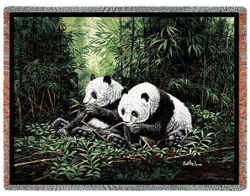 70x53 PANDA BEAR Bamboo Wildlife Tapestry Throw Blanket