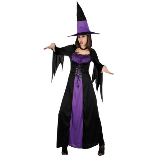 Spellbound Classic Long Witch Purple Halloween Lady Womens Fancy Dress Costume