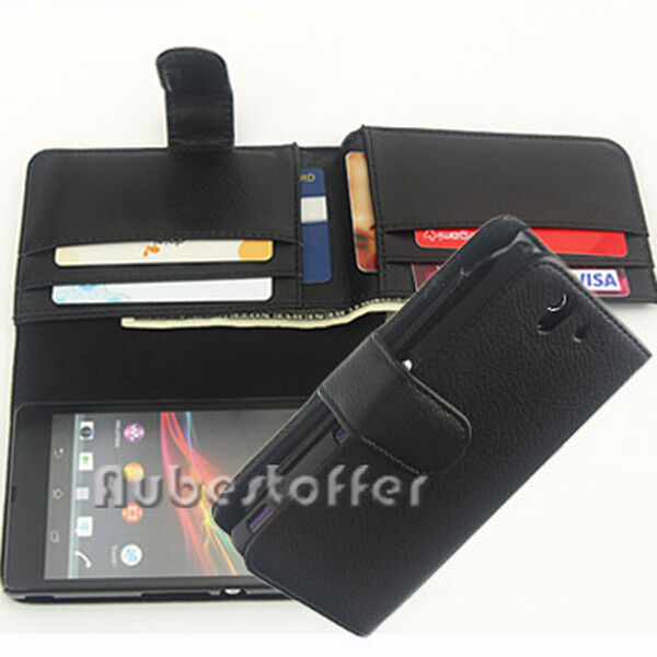 NEW Long Wallet Flip Leather Case Cover For Sony Xperia Z