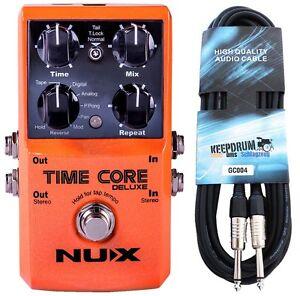 Nux Time Core Deluxe Multi Delay Pédale + Keepdrum Câble De Guitare 6m