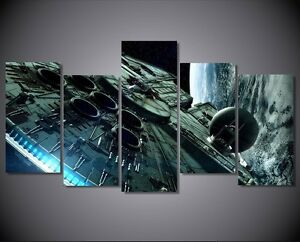 5 Piece Millennium Falcon Star Wars Canvas Painting Print Poster Home Decor Ebay