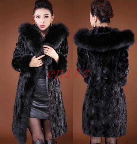 Manteau long Femme Parka à Fit mi noir de fausse Outwear en capuche vison Slim fourrure FYWnraFz6