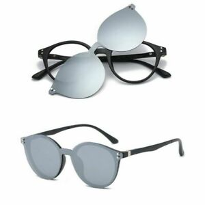 Round-Magnetic-Clip-on-Eyeglass-Frames-Polarized-Sunglasses-Vintage-Flexible-Rx