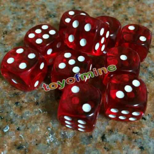 Square Cube Dice Round Corner 10 Pcs Six Sided D6 Transparent 16mm FOR RPG DICE