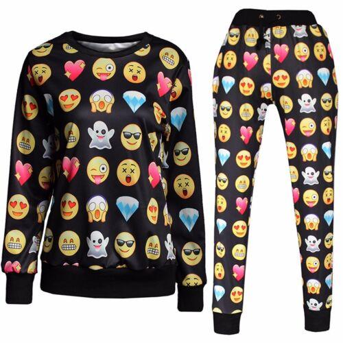 2018 Men/'s Women/'s EMOJI Print Funny Autumn Sweatshirt Tops 3D Jogger Pants S-XL