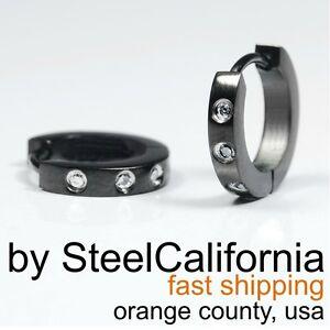 Image Is Loading Diamond Hoop Earrings For Men Black Huggie