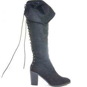 Stivali-donna-alto-in-camoscio-nero-al-ginocchio-tacco-largo-stringato-dietro-gl