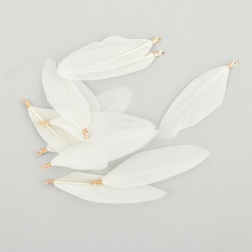 """20 WHITE Real Feather Charms with gold plated bail 2/"""" to 2.5/"""" long chs5495"""