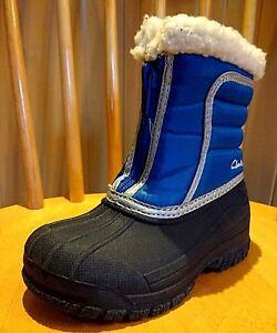 Clarks SNOW infant Boys Teens kids Boots Blue Winter WATERPROOF Lined Wellies