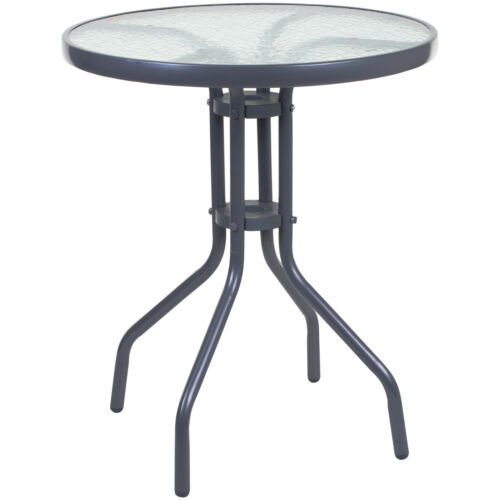 ROUND BISTRO TABLE BLACK SILVER FRAME GLASS OUTDOOR GARDEN PATIO FURNITURE CAFE