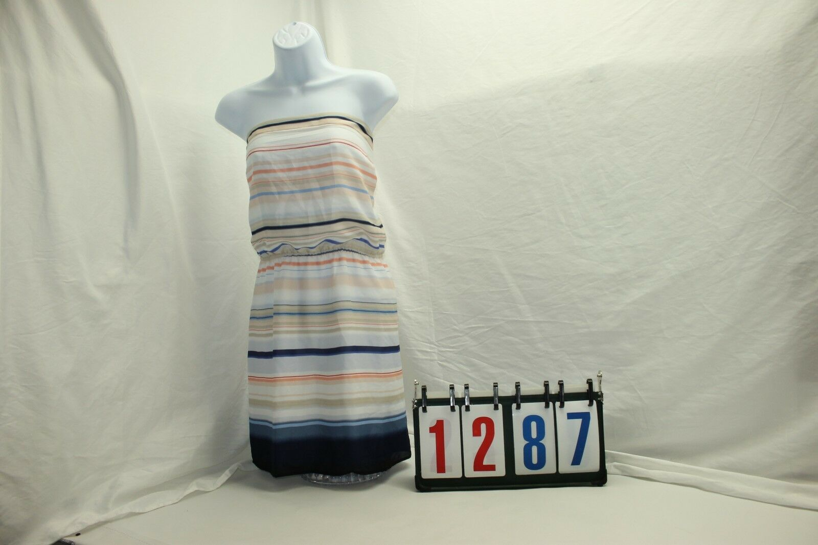 Weiß House schwarz Market damen Sz L Strapless Stripped Dress NWT