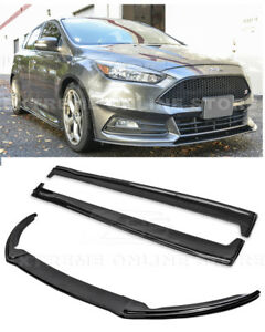 Details About For 15 Up Ford Focus St Carbon Fiber Add On Front Lip Splitter Side Skirts