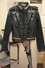 "WOMEN  PARTY  DENIM JACKET ""ICEBERG"" FRAYED & FADED NAVY BLUE.CRYSTALS,LACE M"