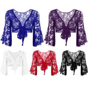 Womens-Lace-Flare-Long-Sleeve-Shrug-Bolero-Ladies-Cropped-Cardigan-Coat-Jacket