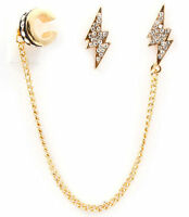 Lightning Bolt Pierced Earrings With A Attached Chain Ear Cuff Gold Plated
