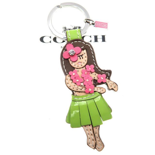 Coach Hawaiian Hula Girl Keychain Keyring Leather Fob Bag Charm Hawaii 93159 NEW
