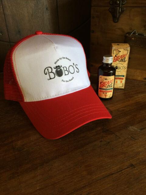 Bobos Beard Company Red Trucker Baseball Cap Hat Lightly Distressed ... a0ab482aa73