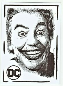 ACEO-Art-Sketch-Card-DC-Cesar-Romero-as-The-Joker-from-TV-Series-ink-Drawing