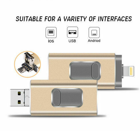 64GB 512GB USB Flash Drive Memory Stick Expansion OTG For iPhone IOS PC Gold