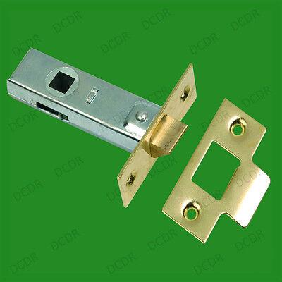 "4x 78mm 3/"" Inch Brass Plated Internal Sprung Catch Tubular Mortice Door Latch"