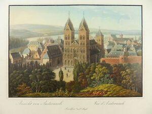 ANDERNACH-RHEIN-NEUWIED-ANSICHT-ALTKOL-AQUATINTA-1830-WEBER-JUGEL