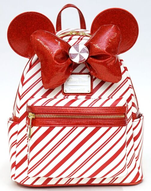 New Disney Loungefly Christmas Holiday 2020 Peppermint Candy Cane Mini Backpack