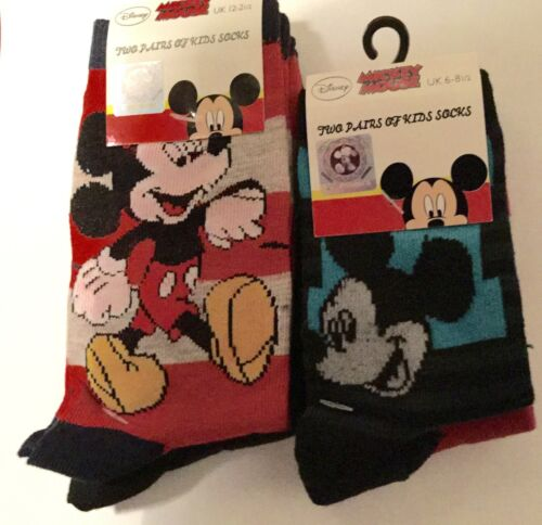 9-11 12-2 2 Pack Boys Socks with Mickey Mouse detail 6-8