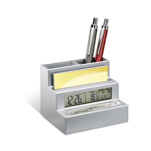 REFLECTS Stifthalter Visitenkartenhalter Bürohelfer Uhr Wecker silber HARLEM