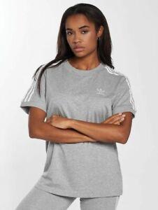 NEW-Adidas-Women-039-s-Originals-3-Stripes-Trefoil-Grey-Tee-Shirt-CY4982-MANY-SIZES
