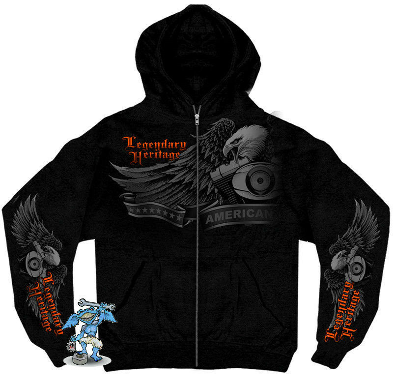 Heritage V-Twin Hoodie Eagle Orange Adler Biker Chopper  Milwaukee USA