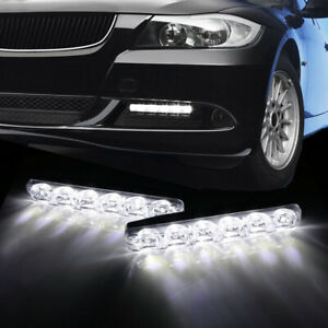 Universal Car LED White Daytime Running Light Strips DRL Side Marker Fog Lamps