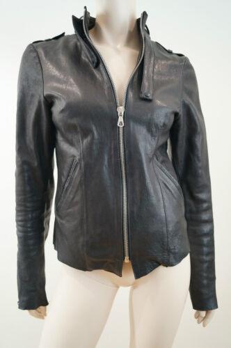 Zip Jacket Biker Women's Circus Neck Stud Secret Læder Halset M Sz Black zIUx1wqa