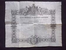 DIPLOME ORDRE IMPERIAL LEGION D'HONNEUR 1858 - CENSIER LIEUTENANT VAISSEAU