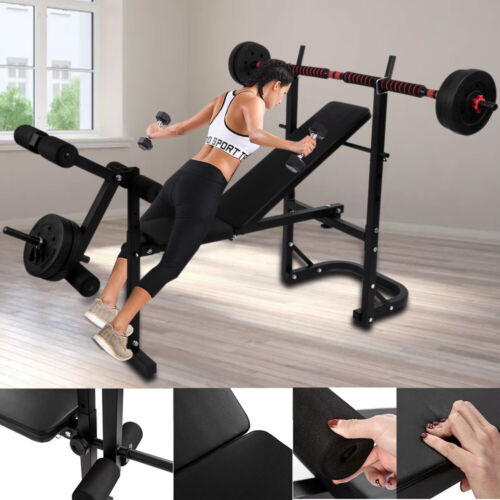 Indoor Folding Weight Bench Gym Lifting Dumbbell Abs Chest Press Adjustable Rack
