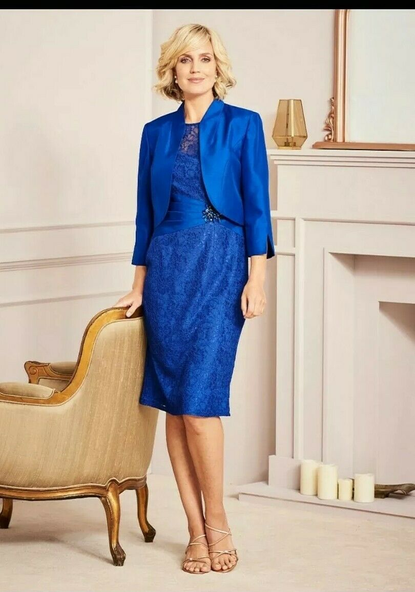 BNWT Nightingales Special Occasion Cobald Lace Dress and Jacket Plus Size 20