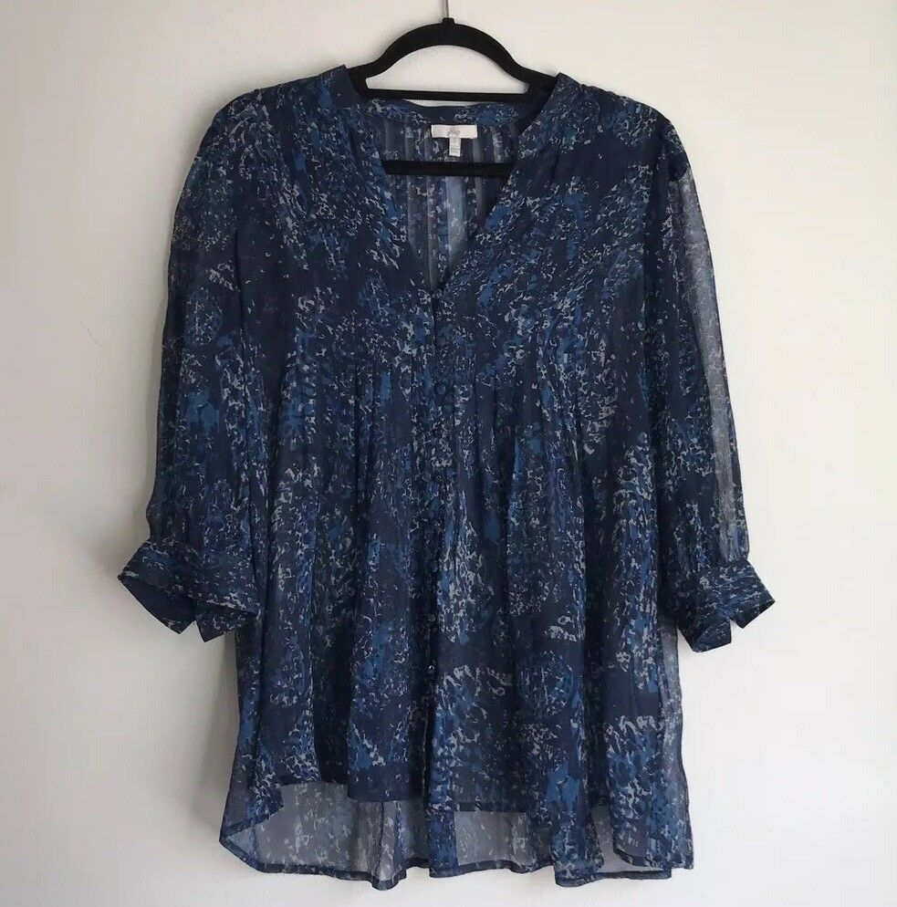 Joie Navy & Weiß WaterFarbe Dot Print Long Sleeve Sheer Blouse Größe Small